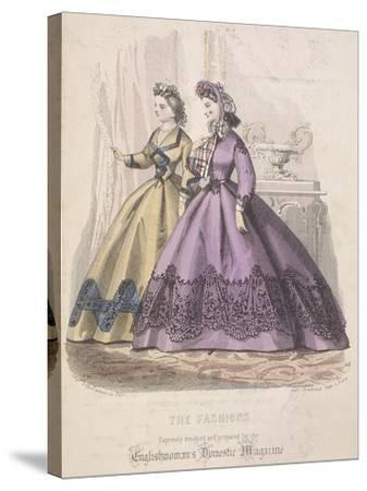 Two Women Model the Latest Fashions, 1864--Stretched Canvas Print
