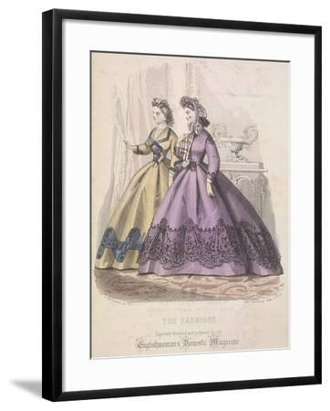 Two Women Model the Latest Fashions, 1864--Framed Giclee Print