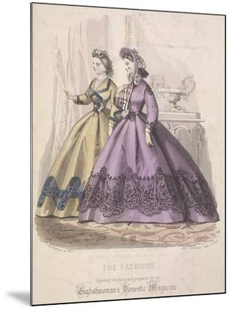 Two Women Model the Latest Fashions, 1864--Mounted Giclee Print