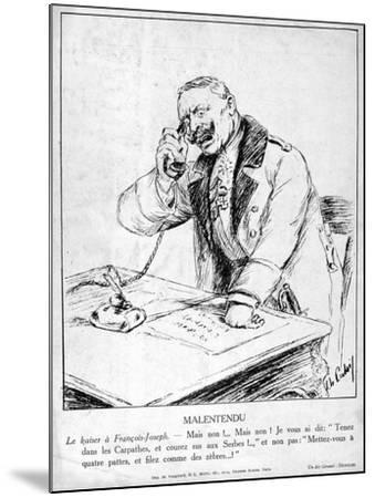 Misunderstanding, Caricatures of Guillaume II of Germany, 1915--Mounted Giclee Print