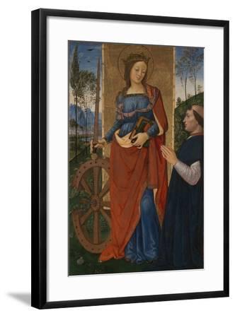 Saint Catherine of Alexandria with a Donor, C. 1480-Bernardino Pinturicchio-Framed Giclee Print
