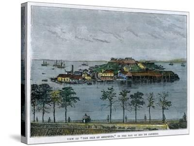 View of the Isle of Serpents, in the Bay of Rio De Janeiro, Brazil, C1880--Stretched Canvas Print