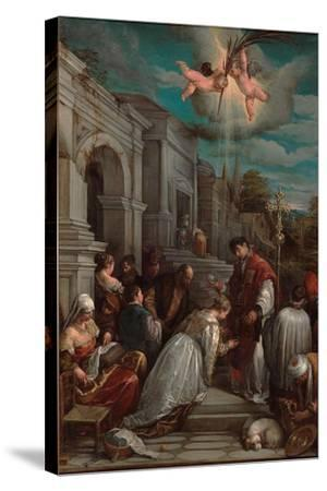 Saint Valentine Baptizing Saint Lucilla, 1575-Jacopo Bassano-Stretched Canvas Print