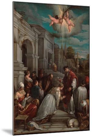 Saint Valentine Baptizing Saint Lucilla, 1575-Jacopo Bassano-Mounted Giclee Print