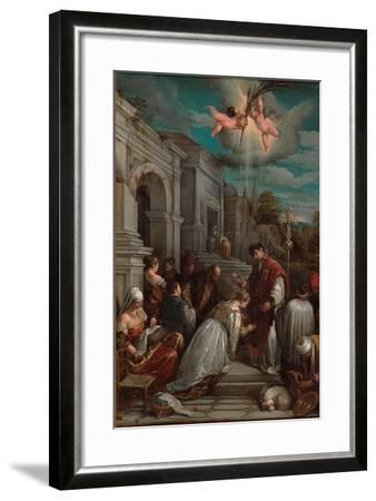 Saint Valentine Baptizing Saint Lucilla, 1575-Jacopo Bassano-Framed Giclee Print