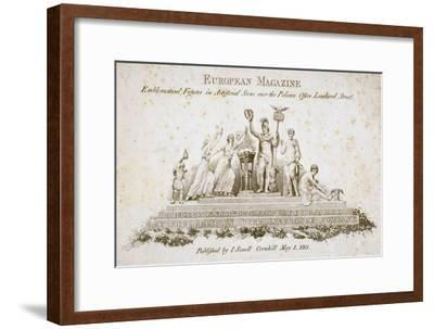 Emblematical Figures over the Pelican Life Office, No 70 Lombard Street, City of London, 1801--Framed Giclee Print