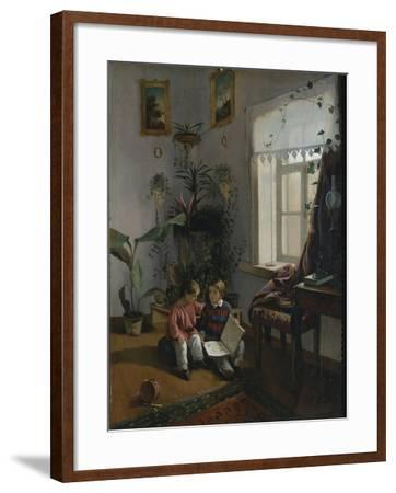 In the Room. Young Boys Looking at Book, 1854-Ivan Phomich Khrutsky-Framed Giclee Print