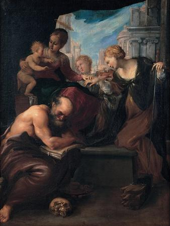 The Mystic Marriage of Saint Catherine, 1595-1599-Pietro Faccini-Framed Giclee Print