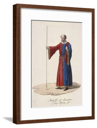 A Sheriff of London, Dressed in Early Fifteenth Century Civic Costume and Holding a Staff, C1830--Framed Giclee Print
