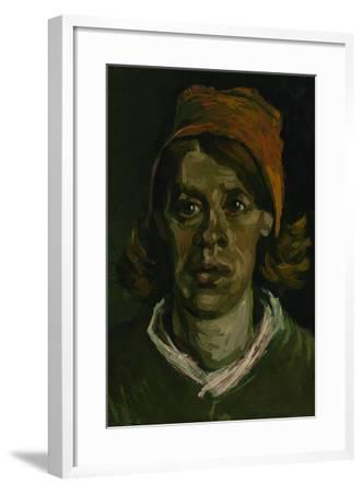 Head of a Peasant Woman with Red Hood, 1885-Vincent van Gogh-Framed Giclee Print