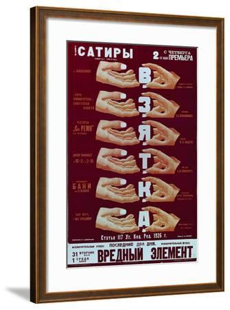 Poster for the Play the Bribery, 1920S-Dmitry Anatolyevich Bulanov-Framed Giclee Print