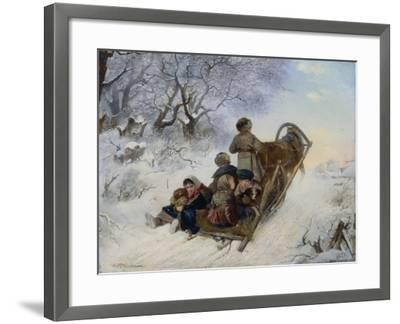 Children on a Horse Drawn Sleigh, 1870-Ivan Andreyevich Pelevin-Framed Giclee Print