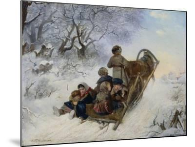 Children on a Horse Drawn Sleigh, 1870-Ivan Andreyevich Pelevin-Mounted Giclee Print