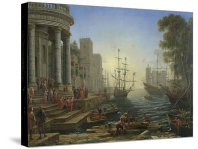 Seaport with the Embarkation of Saint Ursula, 1641-Claude Lorraine-Stretched Canvas Print