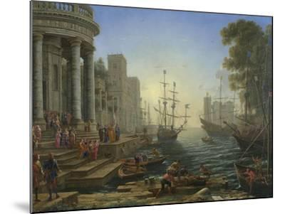 Seaport with the Embarkation of Saint Ursula, 1641-Claude Lorraine-Mounted Giclee Print