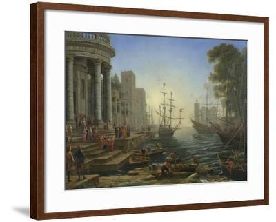 Seaport with the Embarkation of Saint Ursula, 1641-Claude Lorraine-Framed Giclee Print