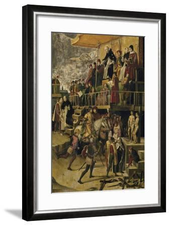 Saint Dominic Presides over an Auto Da Fe, C. 1495-Pedro Berruguete-Framed Giclee Print