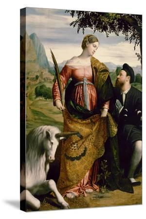 Saint Justina, Venerated by a Patron, Ca 1530-Moretto Da Brescia-Stretched Canvas Print