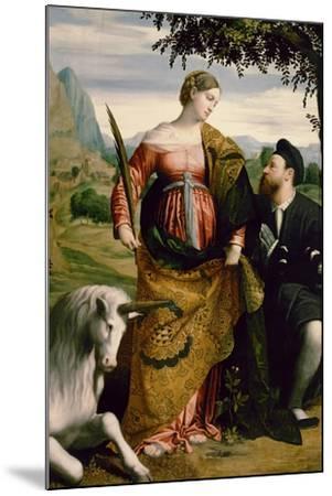 Saint Justina, Venerated by a Patron, Ca 1530-Moretto Da Brescia-Mounted Giclee Print