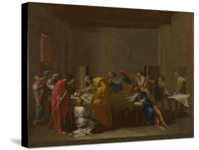 Seven Sacraments: Extreme Unction, Ca 1637-1640-Nicolas Poussin-Stretched Canvas Print