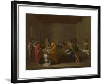 Seven Sacraments: Extreme Unction, Ca 1637-1640-Nicolas Poussin-Framed Giclee Print