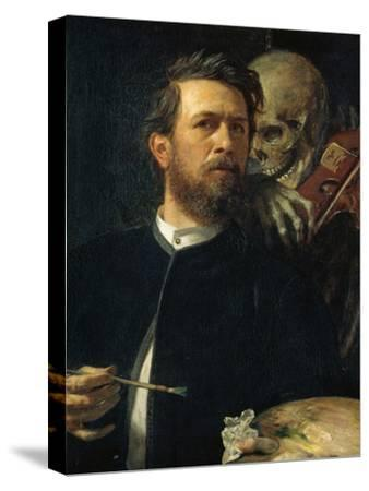 Self-Portrait with Death Playing the Fiddle, 1872--Stretched Canvas Print