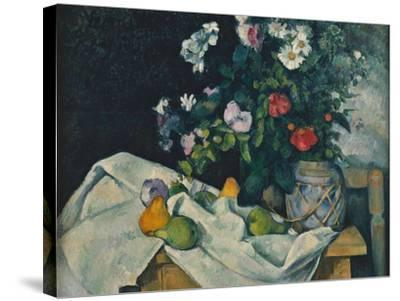 Still Life with Flowers and Fruit, 1889-1890-Paul C?zanne-Stretched Canvas Print