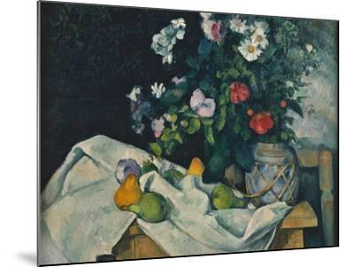 Still Life with Flowers and Fruit, 1889-1890-Paul C?zanne-Mounted Giclee Print