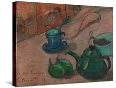 Still Life with Teapot, Cup and Fruit, 1890-Émile Bernard-Stretched Canvas Print