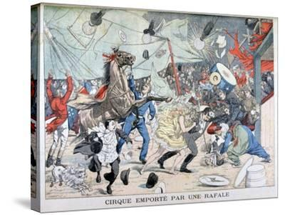 Circus Tent Blown Away, Saint Etienne, France, 1903--Stretched Canvas Print