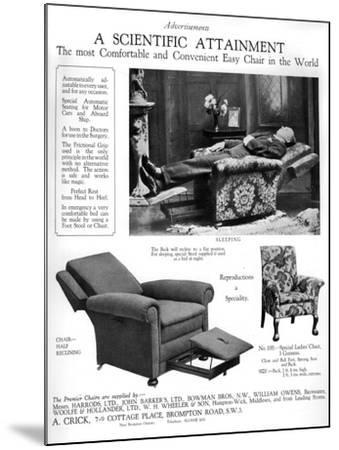 An Advertisement for 'Premier' Easy Chairs, 1926--Mounted Giclee Print