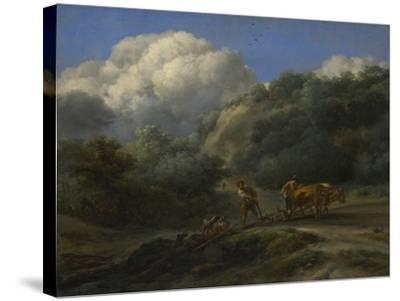 A Man and a Youth Ploughing with Oxen, C. 1650-Nicolaes Berchem-Stretched Canvas Print