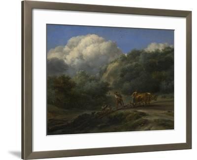 A Man and a Youth Ploughing with Oxen, C. 1650-Nicolaes Berchem-Framed Giclee Print