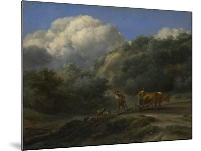 A Man and a Youth Ploughing with Oxen, C. 1650-Nicolaes Berchem-Mounted Giclee Print