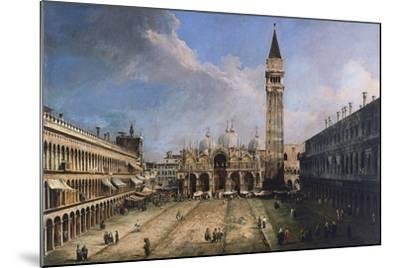 The Piazza San Marco in Venice, Ca 1723-1724-Canaletto-Mounted Giclee Print