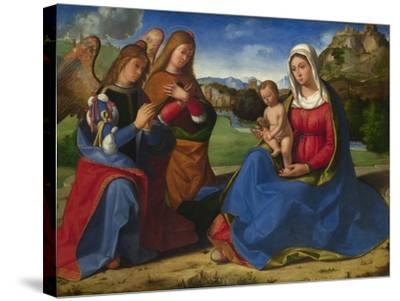 The Virgin and Child Adored by Two Angels, C. 1505-Andrea Previtali-Stretched Canvas Print