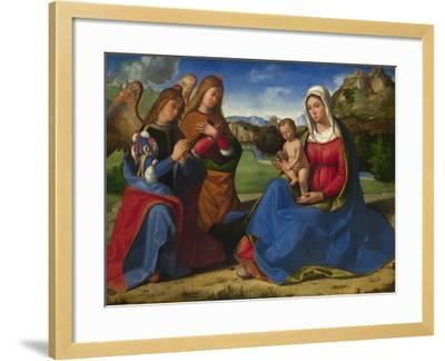 The Virgin and Child Adored by Two Angels, C. 1505-Andrea Previtali-Framed Giclee Print