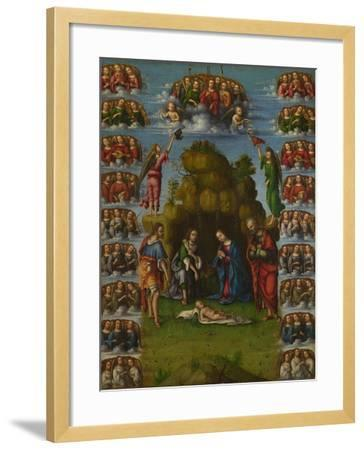 The Adoration of the Shepherds with Angels, 1499-Lorenzo Costa-Framed Giclee Print