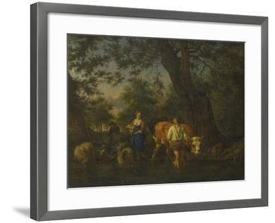 Peasants with Cattle Fording a Stream, Ca 1662-Adriaen van de Velde-Framed Giclee Print