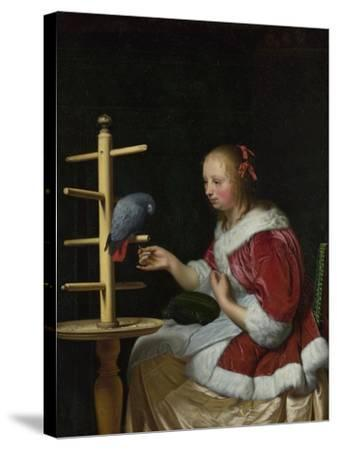 A Woman in a Red Jacket Feeding a Parrot, Ca 1663-Frans van Mieris the Elder-Stretched Canvas Print