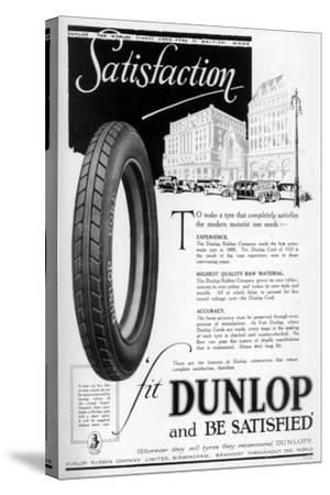 Dunlop Advertisment, 1923--Stretched Canvas Print