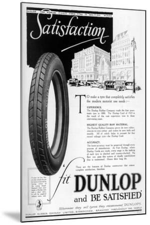 Dunlop Advertisment, 1923--Mounted Giclee Print
