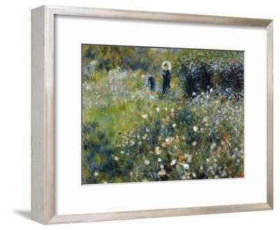 Woman with a Parasol in a Garden, 1875-Pierre-Auguste Renoir-Framed Premium Giclee Print