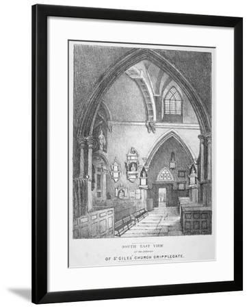South-East View of the Interior of the Church of St Giles Without Cripplegate, City of London, 1825--Framed Giclee Print