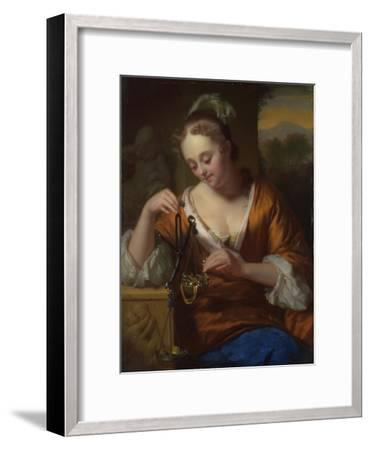 Allegory of Virtue and Riches, Ca. 1665-1667-Godfried Cornelisz Schalcken-Framed Giclee Print