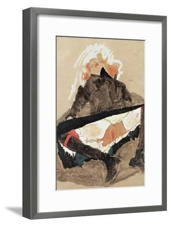 Girl in Black Dress with Her Legs Spread, 1910-Egon Schiele-Framed Giclee Print