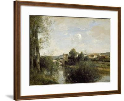 Seine and Old Bridge at Limay, 1872-Jean-Baptiste-Camille Corot-Framed Giclee Print