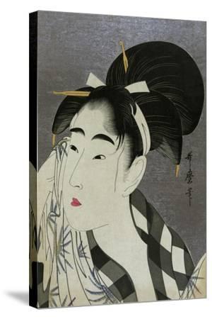 Woman Wiping Sweat, 1798-Kitagawa Utamaro-Stretched Canvas Print