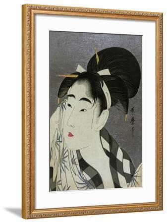 Woman Wiping Sweat, 1798-Kitagawa Utamaro-Framed Giclee Print