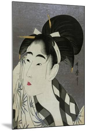 Woman Wiping Sweat, 1798-Kitagawa Utamaro-Mounted Giclee Print